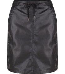 esqualo zwart leren pu rok met elastische tailleband