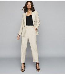 reiss lauren - wool linen blend double breasted blazer in oatmeal, womens, size 12