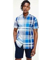 tommy hilfiger men's regular fit madras shirt blue ink / multi - l
