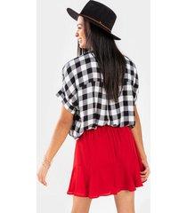 beliza godet ruffle skirt - red
