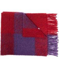 marni fringed check knit scarf