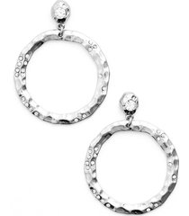 karine sultan jewely cubic zirconia frontal hoop earrings in silver at nordstrom