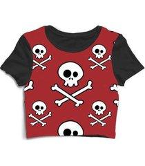 blusa feminina cropped tshirt caveira skull - feminino