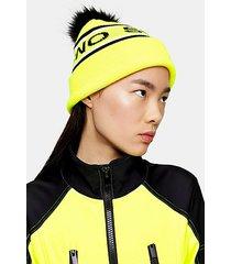 *neon yellow logo pom ski beanie by topshop sno - multi