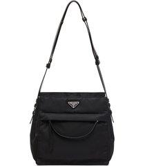 prada hobo triangle-logo shoulder bag - black