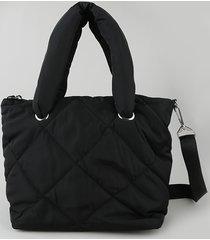 bolsa de ombro feminina shopper em nylon grande puffer preta