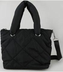 bolsa de ombro feminina shopper em nylon grande pufferpreta