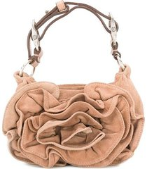 yves saint laurent pre-owned mini draped tote bag - brown