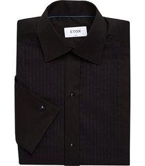 slim-fit plissé-front formal shirt