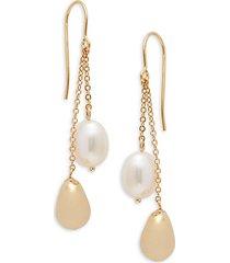14k gold & 8-10mm white oval freshwater pearl drop earrings