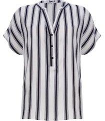 blusa a rayas m/c con pechera color blanco, talla 12