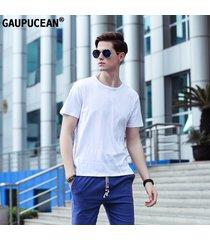 camiseta hombre manga corta gaupucean algodón casual cuello redondo-blanco