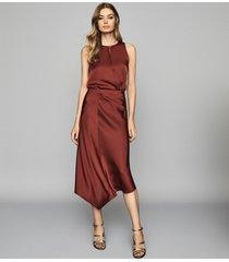 reiss aspen - satin slip skirt in red, womens, size 10