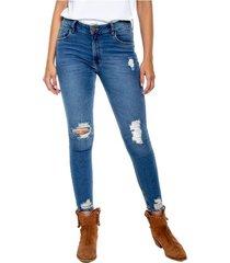 low waist skinny jeans tono medio y rotos color blue