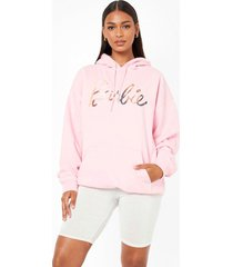 oversized gelicenseerde barbie hoodie, light pink