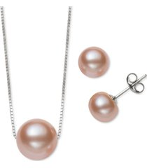 2-pc. set black dyed cultured freshwater pearl (8-10mm) pendant necklace & matching stud earrings (also in white & pink cultured freshwater pearl)