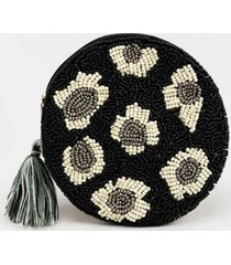 angela round beaded pouch - black