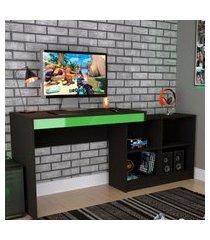 mesa escrivaninha gamer 4 nichos nova mobile b24 preta e verde