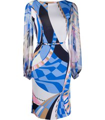 emilio pucci abstract-printed belted dress - blue