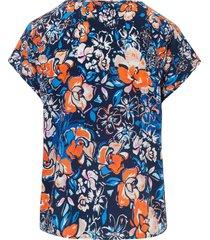 shirt met aangeknipte mouwtjes en bloemenprint van peter hahn multicolour
