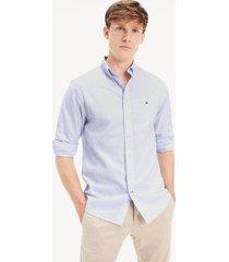tommy hilfiger men's regular fit oxford shirt chambray blue - xs