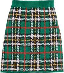 miu miu plaid mini skirt - green
