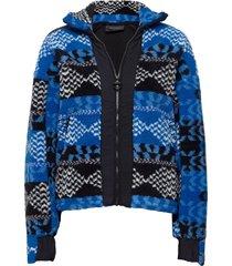 w original pile zip aw pattern sweat-shirt tröja blå peak performance