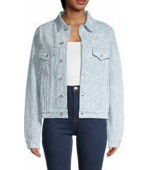 off-white women's print denim jacket - blue white - size 42 (6)