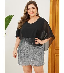 plus talla patchwork adornado con lentejuelas negras vestido