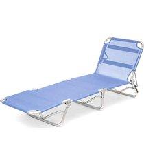 cadeira espreguiçadeira textilene aluminio azul belfix - tricae