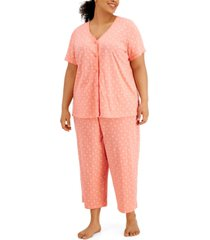 charter club plus size cotton capri pajama set, created for macy's