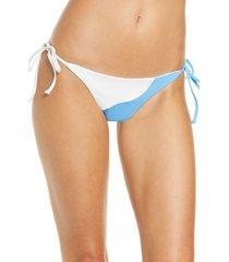 women's l space dani classic bikini bottoms, size medium - blue