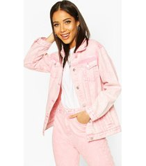 acid wash oversized jean jacket, pink