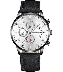 reloj ultradelgado hombre lujo cuero cuena 1208 negro plateado