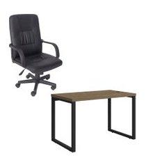mesa escritório kappesberg 1.20m e cadeira presidente trevalla tl-cde-28-1