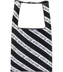 diagonal logo print knit shopper bag