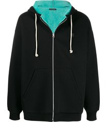 acne studios face-embroidered patch zipped hoodie - black