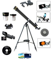 galileo 700mm x 60mm day and night telescope kit plus smartphone adapter and solar filter cap