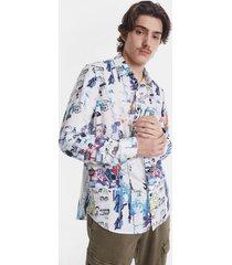 arty collage shirt - white - xl