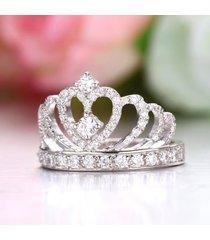 3/4ct round cut real 925 silver princess tiara engagement crown ring 14k gold fn