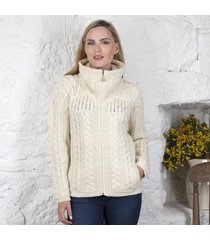 ladies double collar zipper cardigan cream medium
