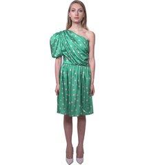 one-shoulder polka dot dress
