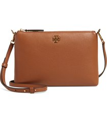 tory burch kira pebbled leather wallet crossbody bag - brown