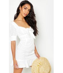 knot front broderie anglais mini dress, ivory