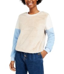 almost famous juniors' colorblocked faux fur pullover