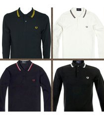 fred perry men's long sleeve twin tipped polo shirts