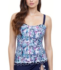 profile by gottex snake charm d-cup tankini top women's swimsuit