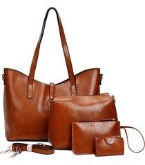 set di quattro pezzi da donna in ecopelle borsa a spalla borsa clutch borsa titolare della carta