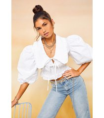 oversized collar cotton shirred blouse, white
