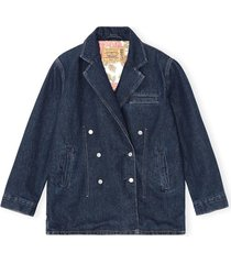 levi's double breasted denim jacket in dark indigo